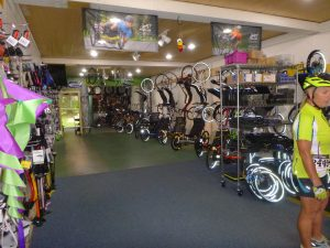 Inside the recumbent trike store floral city